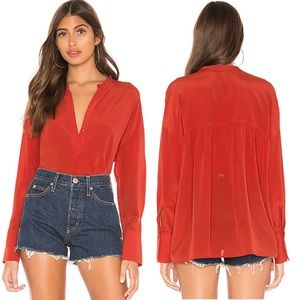 Vince Band Collar Silk Red Blouse